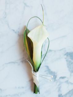 Calla lily boutonniere: http://www.stylemepretty.com/utah-weddings/salt-lake-city/2015/05/04/part-i-modern-minimal-wedding-inspiration/ | Photography: Megan Robinson - http://www.meganrobinsonblog.com/