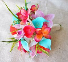 Wedding Coral Orange, Pink and Turquoise Teal Natural Touch Orchids, Callas and Plumerias Silk Flower Bride Bouquet by Wedideas on Etsy https://www.etsy.com/listing/200963602/wedding-coral-orange-pink-and-turquoise