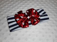 Red, white and blue bow headband. So cute for your baby girl or toddler girl for the 4th of July or any time!