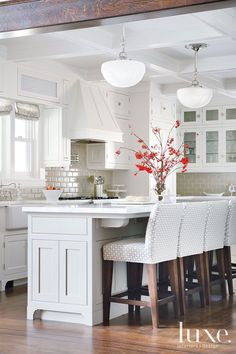 White Upholstered Kitchen Barstools Are By Lee Industries