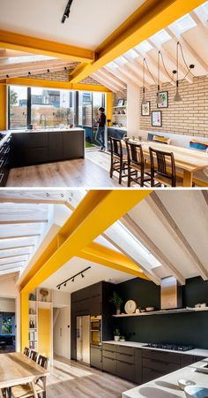 Inside this brick extension, large yellow steel beams provide support, while unc. - Inside this brick extension, large yellow steel beams provide support, while unconnected rafters sa - Brick Extension, House Extension Design, Rear Extension, House Design, Kitchen Extension Steel Beam, Side Return Extension, Wood Interior Design, Interior Modern, Steel Beams