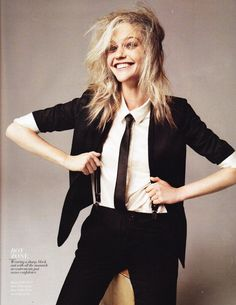 borrowing from the men: sasha pivovarova in a skinny suit