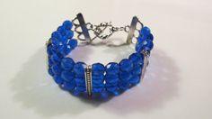 Triple strand  bracelet with cobalt  blue crystals, Summer Wedding Jewelry, Beach wedding, Resort Jewelry.