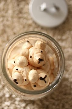 Meringue bear cookies. Recipe is hard to decipher - it is badly translated from Japanese. I pinned this for the idea.  Any brown sugar merigue cookie recipe will work.