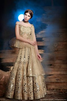 Gold lengha by Heena Kochhar, indian wedding clothes, bridal lehenga
