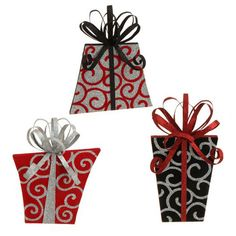 "RAZ Large Flat Flocked Present Christmas Ornament Set of 3  3 Assorted styles, set includes one of each style Made of Paper Measures 12"" X 9.5"" X 5.5"", 13"" X 6.5"" X 5.5"" Double Sided  ♥ RAZ Exclusive Christmas package style ornament, will stand or hang, decorated in glittered swirls, contrasting bows. RAZ 2014 To Be Jolly Collection"