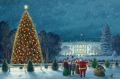 """""""Christmas in Washington"""" by Paul McGehee, the Official Artist of the National Christmas Tree. A limited edition of 1,800 S/N prints, with 200 remarqued S/N. Image size: 17"""" x 25 1/2"""". Price: $200.00 S/N, or $800.00 remarqued S/N."""