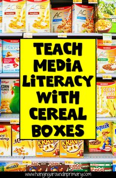 Learn everything you need to know about how to use cereal boxes to teach media literacy skills. Use this cereal box media literacy unit to integrate your media expectations into your Health and Math Probability curriculum expectations. Literacy Programs, Media Literacy, Literacy Skills, Literacy Activities, Reading Activities, Math Resources, Information Literacy, Cereal Boxes, Third Grade