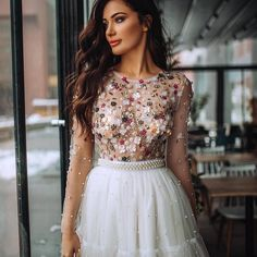 Illusion White Tulle Flowers See Through Homecoming Dresses,Short Prom Dresses,Pearl Beaded Mini Homecoming Dresses,Graduation Dresses - Röcke & Kleider - Beautiful Prom Dresses, Sexy Dresses, Evening Dresses, Fashion Dresses, Formal Dresses, Short Dresses For Girls, Sparkly Dresses, Beautiful Clothes, Elegant Dresses