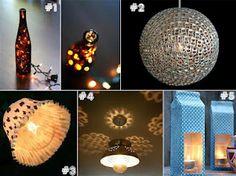 Luminárias feitas com materiais recicláveis.