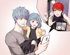 Kuroko no Basket - Kuroko Tetsuya + Akashi Seijuro Anime Dad, Anime Guys, Kuroko No Basket, Fanarts Anime, Anime Characters, Akashi Kuroko, Akashi Seijuro, Desenhos Love, Hello Memes