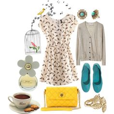 sunny day, created by illimitablejoy on Polyvore featuring the Stella & Dot - Marchesa Studs