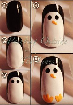 Penguin nail tutorial!                                                                                                                                                      Mais