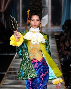 "Fashion Week on Instagram: ""Last February at #MFW, @moschino looked to the 1780s and French Revolution for inspiration. This season, travel back to another bygone era…"" French Revolution, Moschino, Harajuku, Snow White, Sari, Seasons, Disney Princess, February, Inspiration"