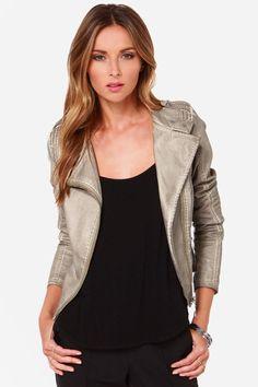@realkatturner  Black Swan Heart Taupe Vegan Leather Moto Jacket - Lulu's $99