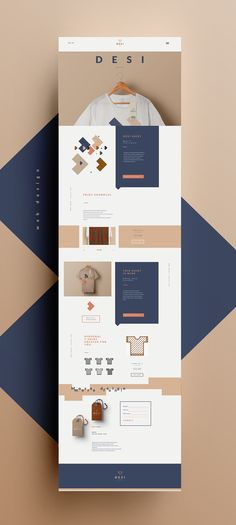 clean, tan and blue web design layout //