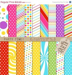 30 OFF Digital Paper  Party Time DP0012  Instant by ClipArtCorner, $2.45