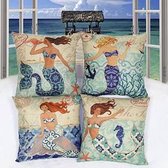"""Catch the sea breeze right in your home with Moods Of A Mermaid Cushion Covers.. There must be some reason why we are so attracted to the Mermaid and want to be one..Surround yourself with the Mermaid motif and get inspired by the free spirit of the Mermaid which tells us to play with the waves and come out of our Shell.. Always be """"shore"""" of ourselves and keep calm even when the storm comes..Lets celebrate the many Moods Of A Mermaid .. Lets love the depths of the ocean an..."""