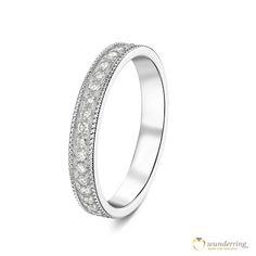 Bezaubernder Diamantring im Vintage / ArtDeco Stil. Weißgold mit Diamanten #Mémoirering #Memoryring #Ehering #Trauring #Milgrain #Millegriffe #Hochzeit #Vintagehochzeit