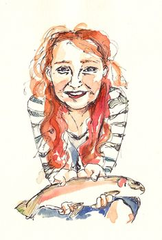 Been fishing, watercolour and pen; Annie Brougham