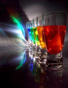 Rainbow water glasses