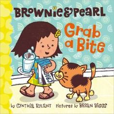 Brownie & Pearl Grab a Bite by Cynthia Rylant. A little girl and her cat enjoy their lunch of cheese, apples, crackers, and milk in different ways. Cynthia Rylant, Frequent Flyer Program, New Children's Books, Animal Books, Language Development, Bedtime Stories, Reading Skills, Learn To Read, Read Aloud