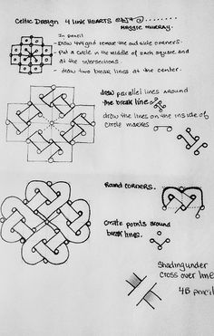 Celtic Knot Hearts - zentangle - MaggieMurray - took the liberty to take the original pattern, and brighten it up so it is easier to read. (Old eyes.) But also pinned the original, and gave credit to the creator with both. Zentangle Drawings, Doodles Zentangles, Doodle Drawings, Celtic Drawings, Doodle Art, Celtic Patterns, Doodle Patterns, Zentangle Patterns, Celtic Symbols