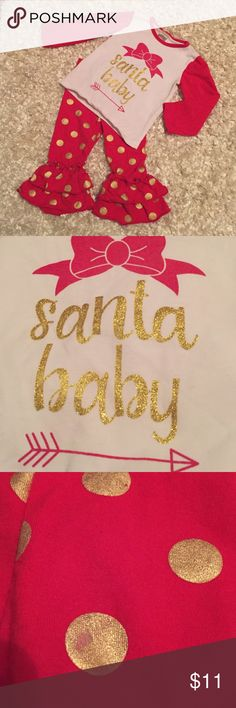 Boutique santa bay outfit size small (2/3) Boutique santa baby outfit size small 2/3.  Imo runs closer to 2.  A few rub marks on the gold print on pants ( see pic). VGUC Matching Sets