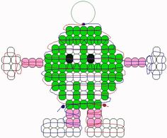 M&M pony bead pattern Materials: 56 green, 14 pink, 45 white, and 2 black pony beads