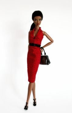 Red and Black Polka dotted Dress for Barbie by ChicBarbieDesigns