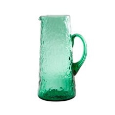 Green pebbled glass pitcher