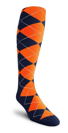 Argyle Socks - HH: Navy/Orange - Mens Over-the-Calf. gold knickers $18.95