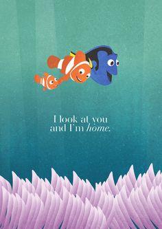 Illustration lilo and stitch tangled disney UP Pixar finding nemo Up Pixar, Disney Pixar, Disney Art, Funny Disney, Dory Quotes, Finding Nemo Quotes, Pixar Quotes, Funny Quotes, Finding Nemo Poster
