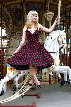 Polka dot dress and carousel horses!!!