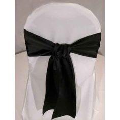 Black Satin Wedding Chair Sash Bows (set of 10) - $10.50