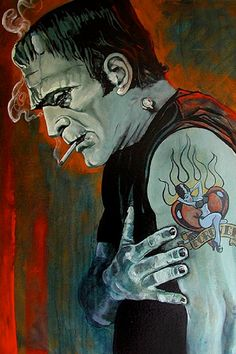 Lowbrow Broken Hearted Art Print by Artist Mike Bell. Frankenstein Broken Hearted fine art print by artist Mike Bell. Made by Lowbrow Art Company. Size: x cm x cm)& Made in the USA. Frankenstein Tattoo, Bride Of Frankenstein, Frankenstein Quotes, Frankenstein Costume, Monster Tattoo, Stretched Canvas Prints, Canvas Art Prints, Fine Art Prints, Arte Horror