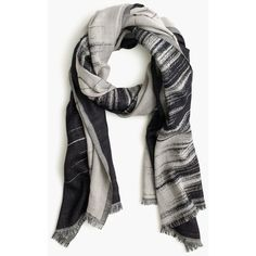 J.Crew Charcoal Brushstroke Scarf ($85) ❤ liked on Polyvore featuring accessories, scarves, summer scarves, wool scarves, j.crew, patterned scarves and summer shawl