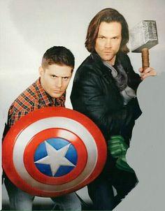 #JensenAckles & #JaredPadalecki ala Captain America and Thor #Avengers