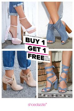 BOGO Spring Styles are In! Get Your First 2 Styles for Only $39.95! Make sure you're up to date on the hottest trends by signing up as a Shoedazzle VIP. You'll enjoy a new boutique of personalized styles each month, as well as exclusive pricing, early access to sales & free shipping on orders over $39. Don't think you'll need something new every month? No problem! Click 'Skip The Month' in your account by the 5th and you won't be charged. Take the Style Quiz today to get this exclusive offer... Heeled Boots, Shoe Boots, Shoes Heels, Dream Shoes, Crazy Shoes, Cute Shoes, Me Too Shoes, Shoe Dazzle, Spring Fashion