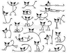 Illustration about Collection of editable vector cat sketches in various positions. Illustration of diverse, doodle, selection - 6760613 Gato Doodle, Doodle Drawings, Easy Drawings, Doodle Doodle, Tangle Doodle, Cat Drawing, Painting & Drawing, Drawing Ideas, Rock Painting