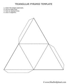 printable 3d pyramid template color it cut it out fold it and glue it together worksheets. Black Bedroom Furniture Sets. Home Design Ideas