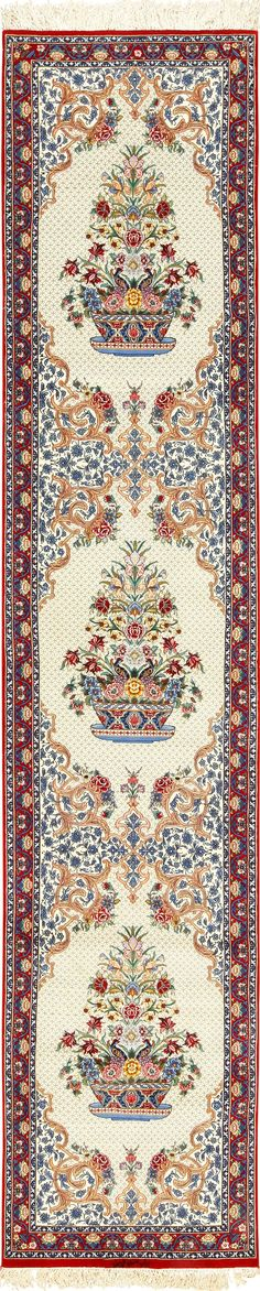 View this ivory modern Persian silk Isfahan runner rug #49403 that is available for sale at Nazmiyal Antique Rugs in New York City.