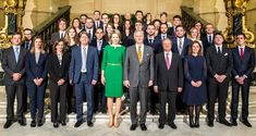 On April 03, 2018, King Philippe of Belgium and Queen Mathilde of Belgium held a reception for 34 trainee diplomats at the Royal Palace of Brussels, Belgium.