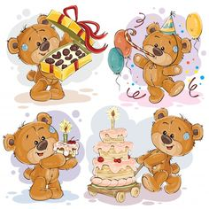 Иллюстрации иллюстрации плюшевого мишка поздравляют вас с днем рождения Бесплатные векторы