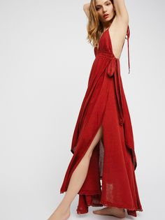 Endless Summer Tropical Heat Maxi Dress at Free People Clothing Boutique Red Summer Dresses, Summer Outfits, Prom Dresses, Beach Dresses, Boho Outfits, Summer Clothes, Tropical Heat, V Neck Dress, Wrap Dress