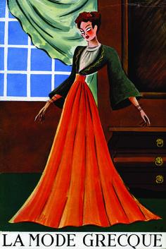 """Εξώφυλλο του περιοδικού «La Mode Greque», Aνοιξη-Καλοκαίρι 1939. Σύνολο του Γιάννη Ευαγγελίδη ζωγραφισμένο από τον Νίκο Εγγονόπουλο. """"La mode Grecque"""" magazine cover, spring-summer 1939. Dress by Yannis Evangelides, painted by Nikos Engonopoulos"""