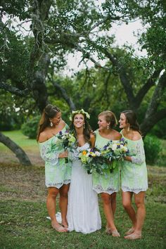 off-the-shoulder bridesmaid dresses, Photo by Amber Vickery Photography http://ruffledblog.com/texas-wedding-with-new-orleans-flair::