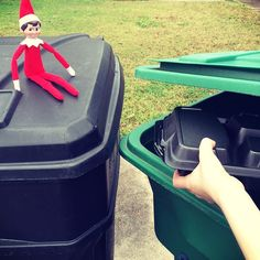 Oh no! Our #elfonashelf is at it again. Keep foam containers out of your curbside recycling bin. Visit earth911.com for more options. #green #holidays #RORR