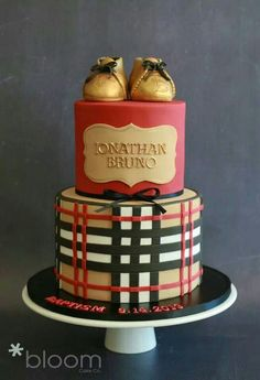 burberry baby shower cake