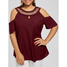 Cold Shoulder Lace Panel Plus Size Blouse - Wine Red Xl